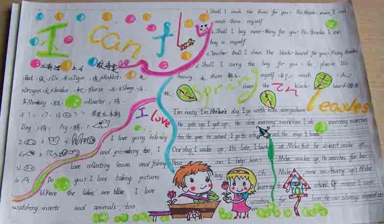 暑假英语手抄报:icanfly