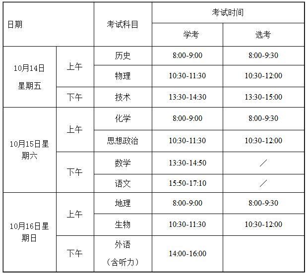 2016年浙江高中学考选考考试时间及安排